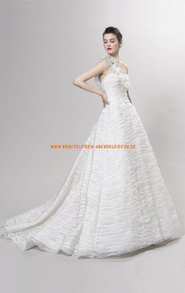 Einschulter Bodenlang modern Luxuriöse Brautkleider 2014 aus Organza ...