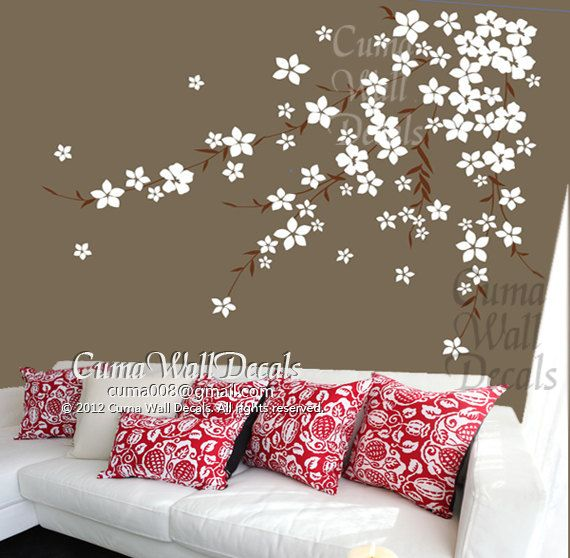 Flowers Wall Decals Cherry Blossom Vinyl Wall Decals Girl Nursery - Wall decals girl nursery