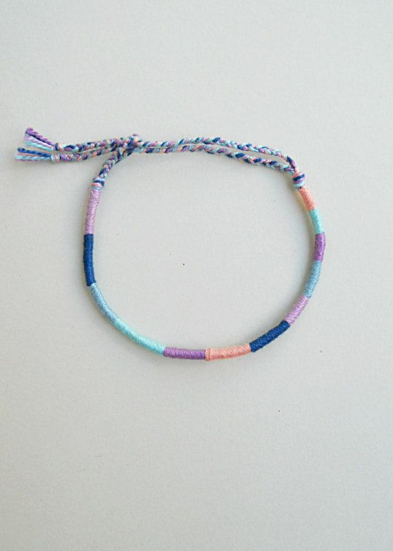 Pastel friendship bracelet Cotton thread Pastel goth Soft | Etsy
