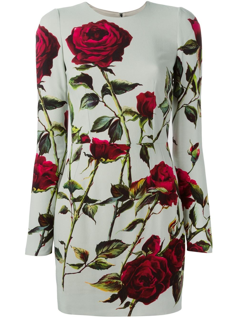 0854468b Dolce & Gabbana Rose Print Fitted Dress - Parisi - Farfetch.com ...
