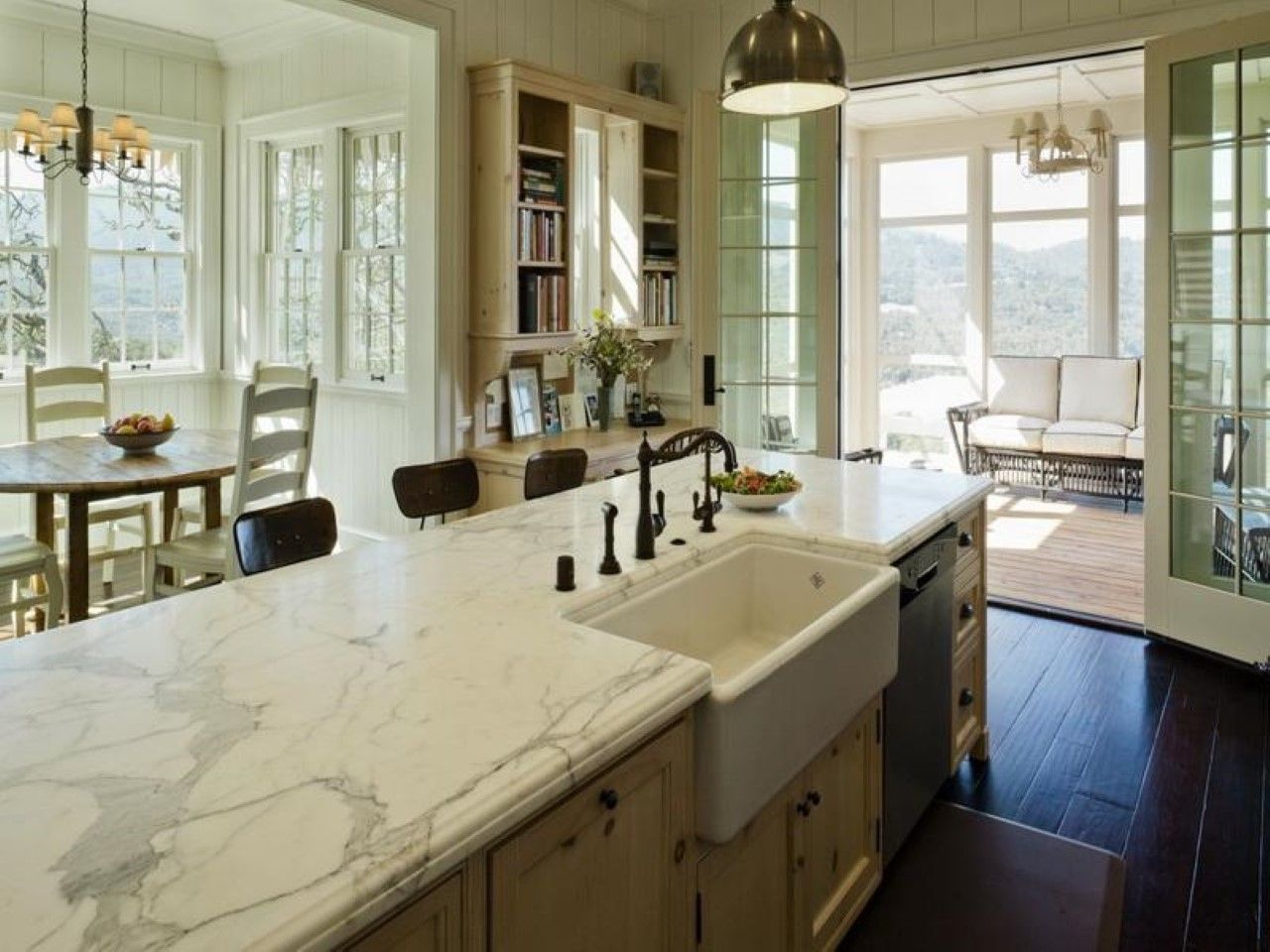 Rustic Farmhouse Kitchen White Marble Countertop And Apron Sink In Classy Farmhouse Kitchen Feat
