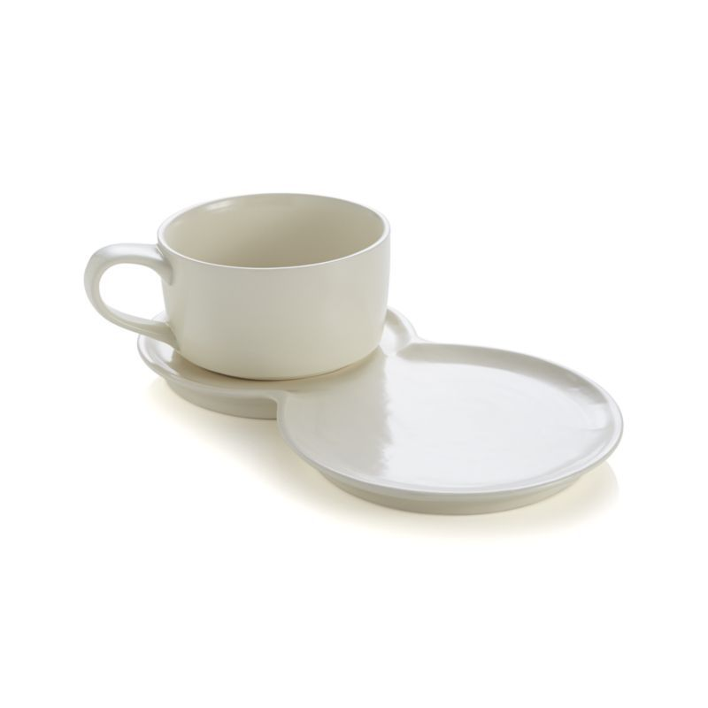 Barbara Eigen\u0027s clever design integrates two plates into one providing a place for salad or sandwich and a resting spot for the generously sized soup mug.  sc 1 st  Pinterest & 2-Piece Soup and Sandwich Set - Crate and Barrel | Clever design ...