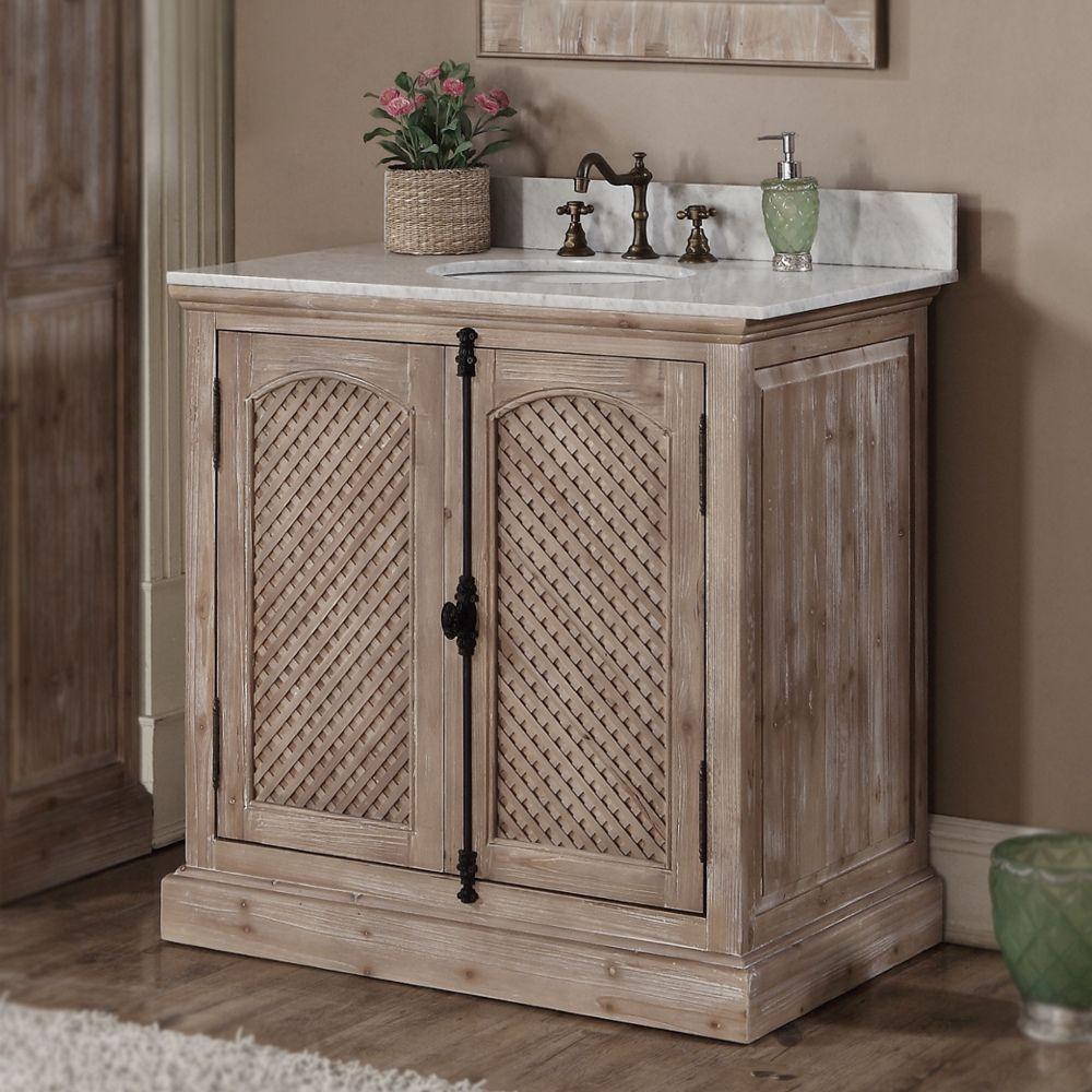 infurniture rustic style 36inch natural stone top single sink bathroom vanity 36 inch carrara white top