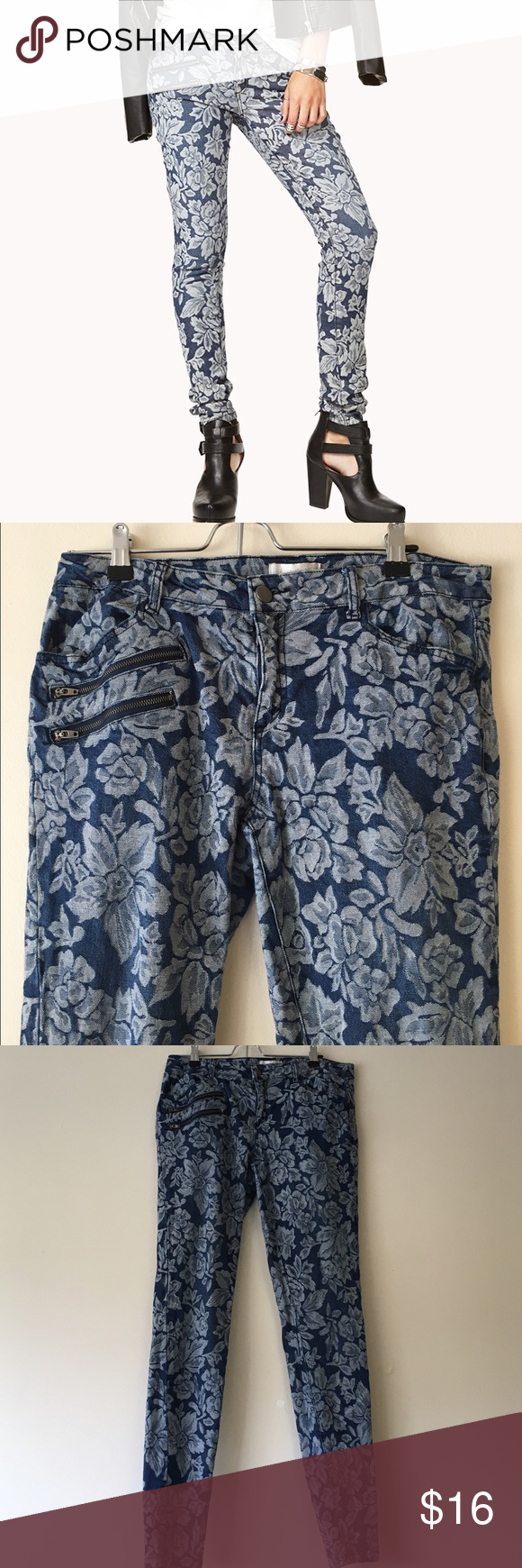 Blue and White Jacquard Floral Skinny Jeans A light denim blue skinny jean decorated with a beautiful white floral pattern. A double zipper accents the front pocket. Cute a sweater or boots! Forever 21 Jeans Skinny