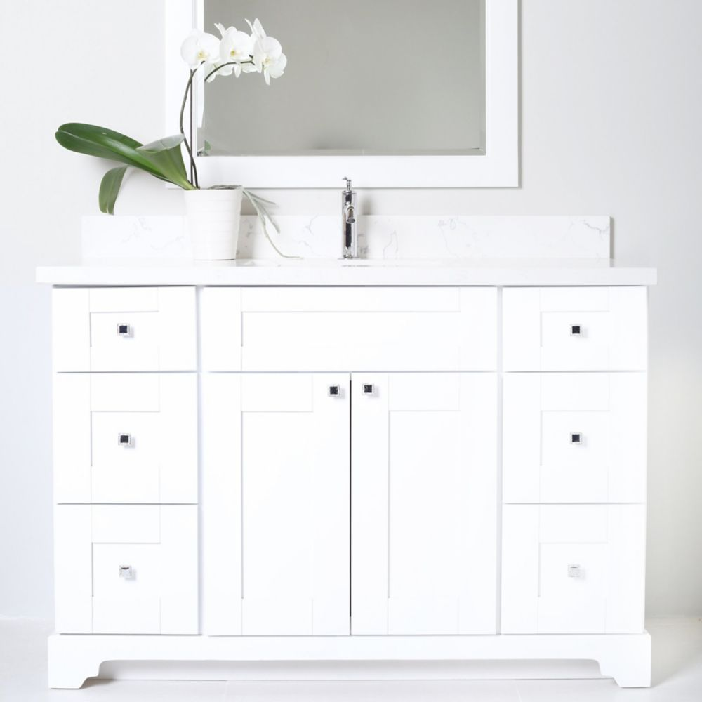Bold Damian 42 Inch White Vanity With Quartz Top In Crystal Grey White Vanity Bathroom Vanities Without Tops Vanity Cabinet