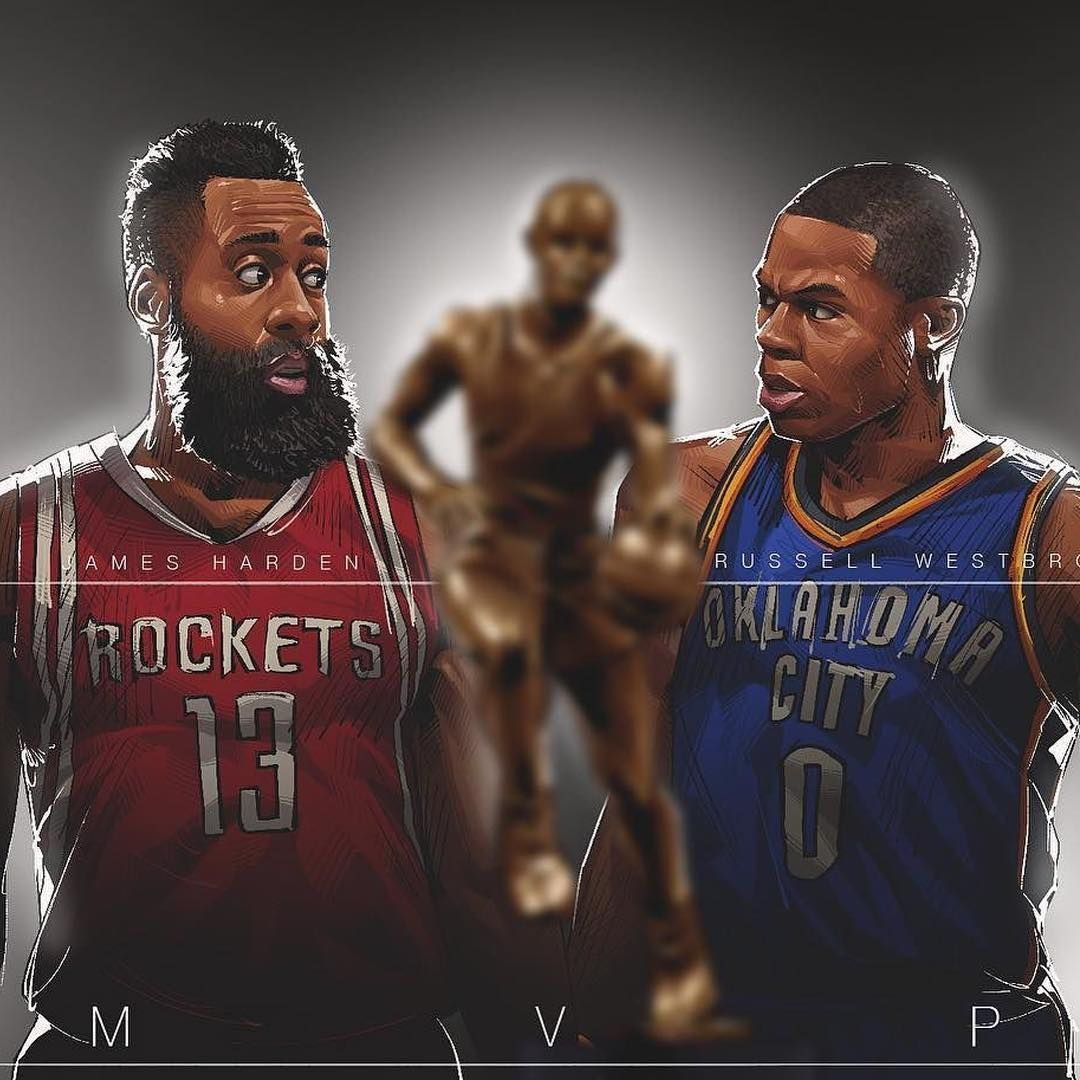 James Harden vs Russell Westbrook MVP Illustration
