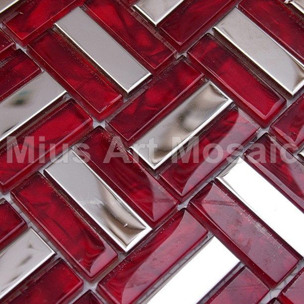 Mius Art Mosaic Glossy Silver Stainless Steel Misxed Red Crystal Glass Mosaic Tile For Kitchen Backsplash Mv0 Glass Mosaic Tiles Metal Tile Mosaic Glass