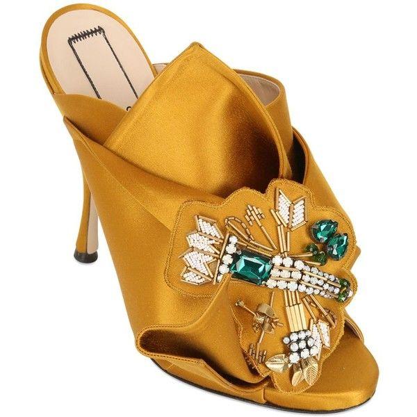 N°21 110mm Jeweled Silk Satin Sandals