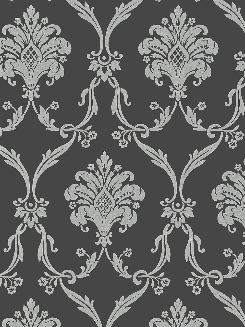 Silver on Dark Gray Victorian Damask Wallpaper Random