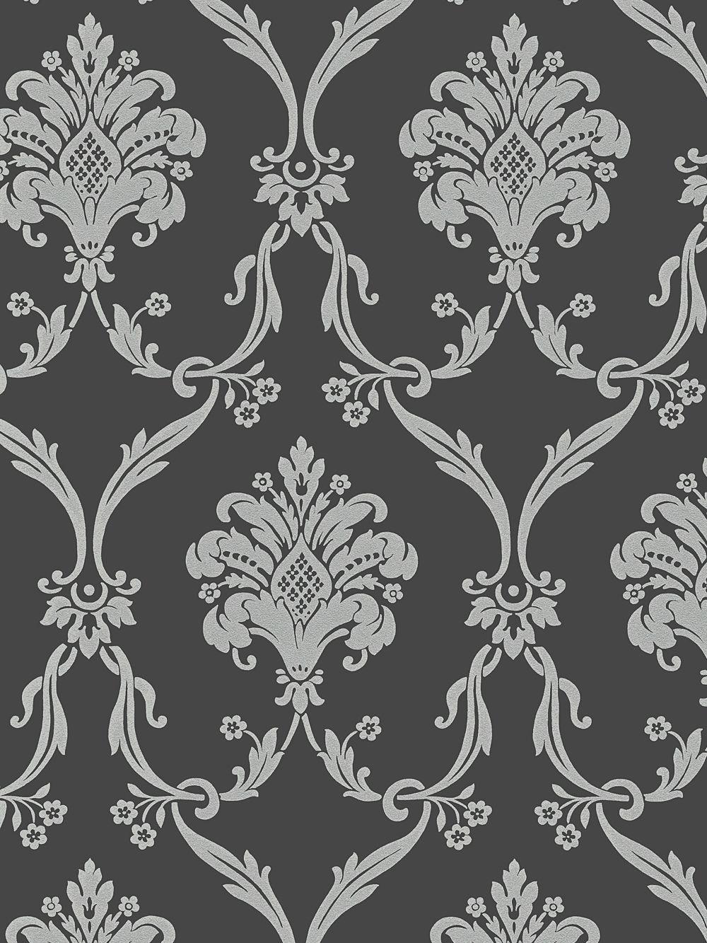 Silver on Dark Gray Victorian Damask Wallpaper dining