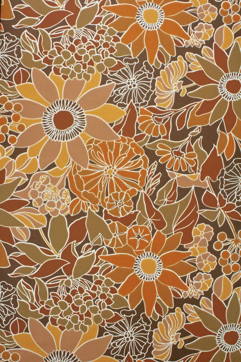 70s Vintage Floral Wallpaper Vintage Floral Wallpapers Retro