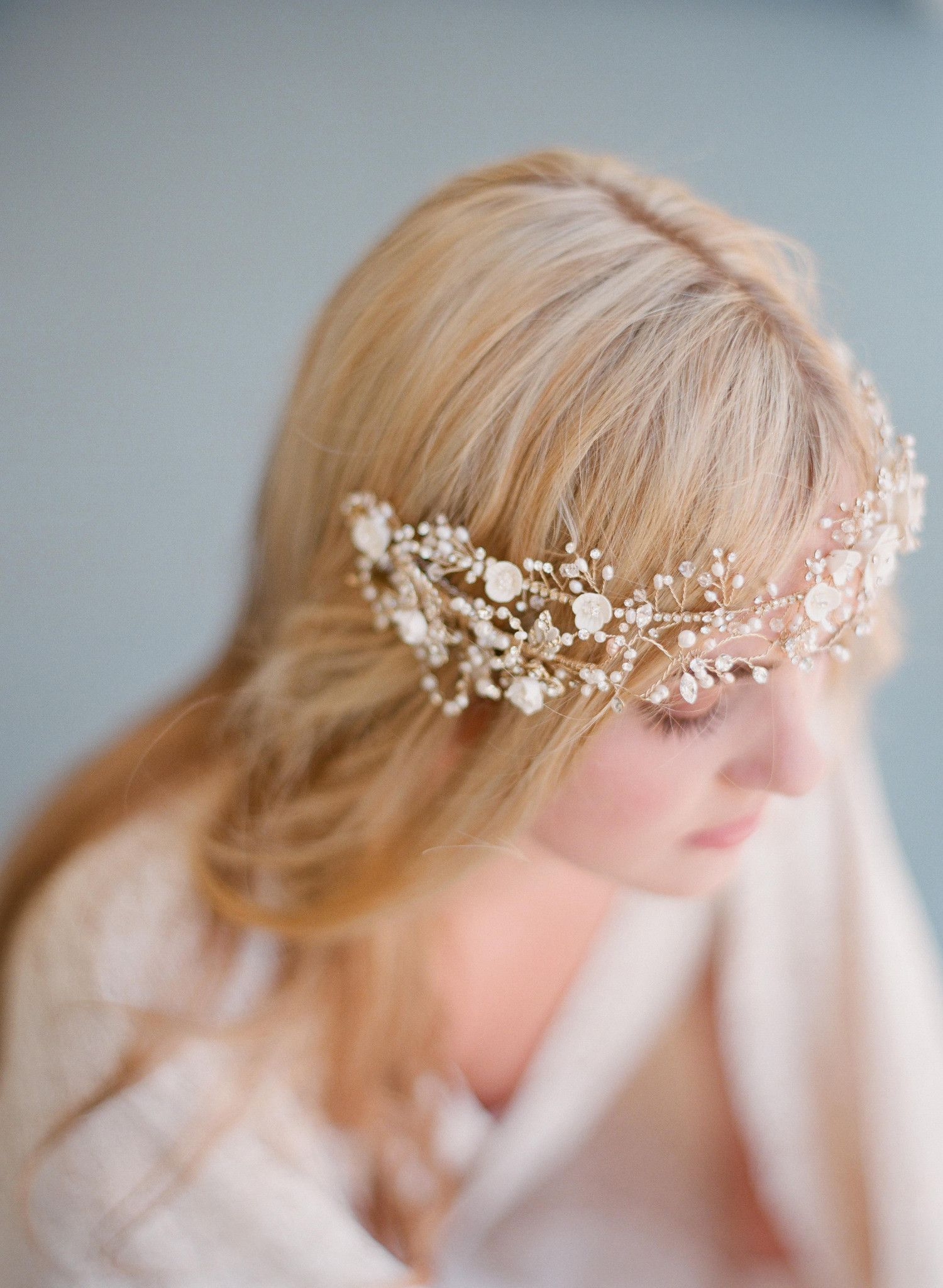 Double band crystal and pearl hair vine style crystal