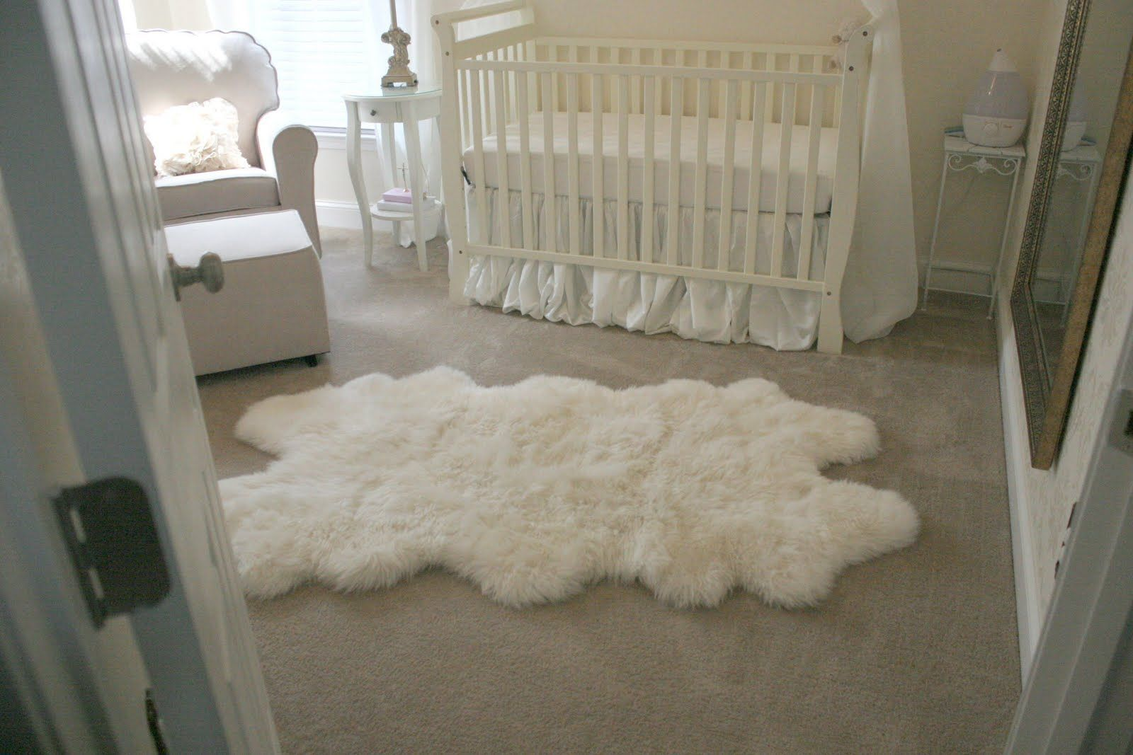 White Sheepskin Rug Nursery Baby Things Faux Fur Area