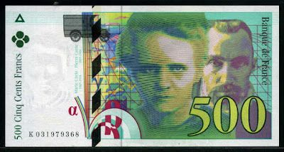 France Currency 500 French Francs Pierre and Marie Curie banknote of 1995, issued by the Bank of France - Banque de France.