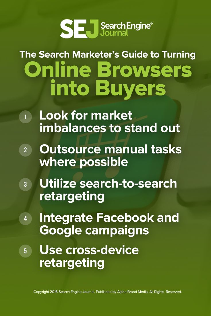 This recap of Patrick Hutchison's webinar is filled with strategies to turn browsers into buyers. If you sell products online, this is one webinar you won't want to miss! https://www.searchenginejournal.com/sejthinktank-recap-search-marketers-guide-turning-online-browsers-buyers/169552
