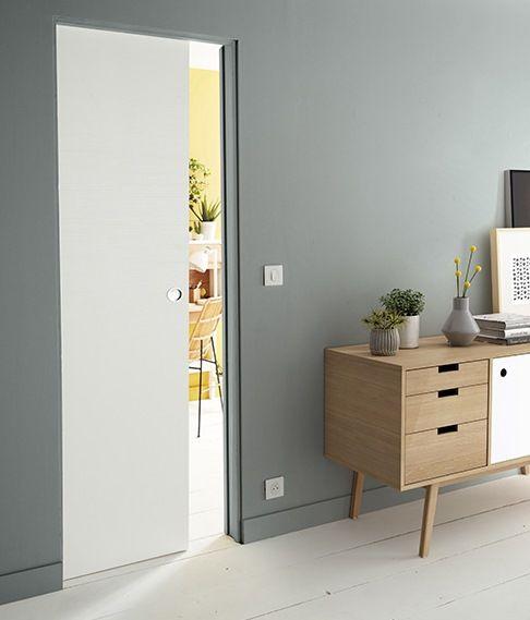 Porte Coulissante Geom Arithmos Laquee Blanc 83 Cm Avec Images Porte Coulissante