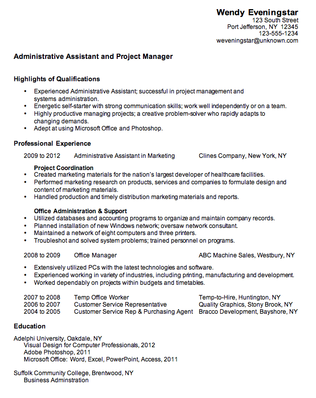 combination resume sample for an administrative assistant project manager