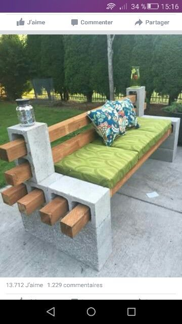 Exceptional DIY Cinderblocks + 4 X 4 Beams + Paint U003d Instant Bench! Use Concrete  Adhesive To Hold Cinderblocks Together.