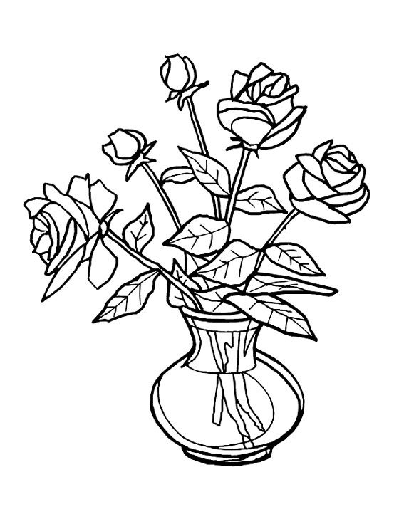 Flower Coloring Pages Flowers Pictures Glass Painting Patterns Flower Vase Drawing Painting Patterns