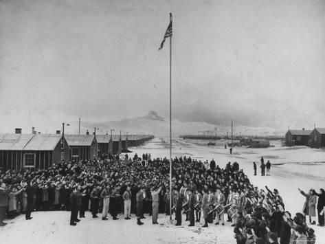 Nisei Japanese Americans Participating in Flag Saluting