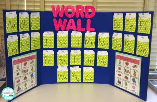 create a mini interactive word wall with library pockets on word wall id=54079