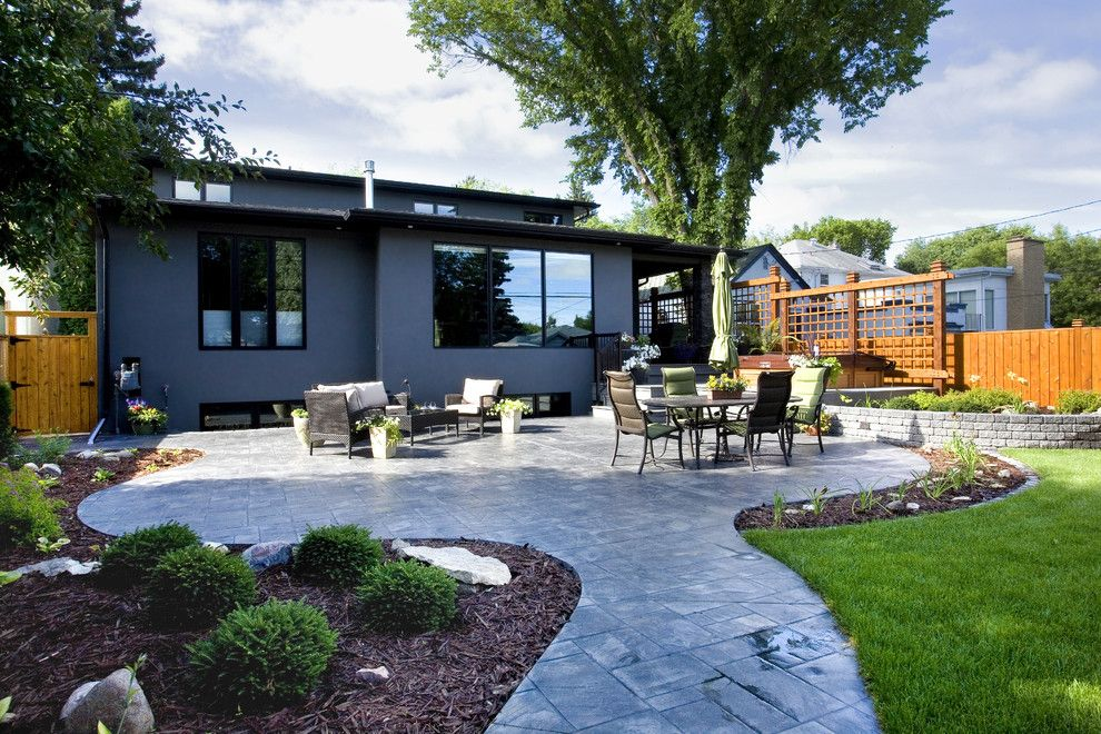 Innovative Stamped Concrete Patio Vogue Other Metro Contemporary Patio  Remodeling Ideas With Black Exterior Trim Flower Beds Gray Exterior Green  Chair ...