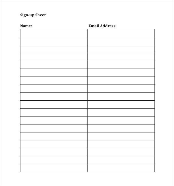 Sign up sheets 60 free word excel pdf documents download Template - free sign up template