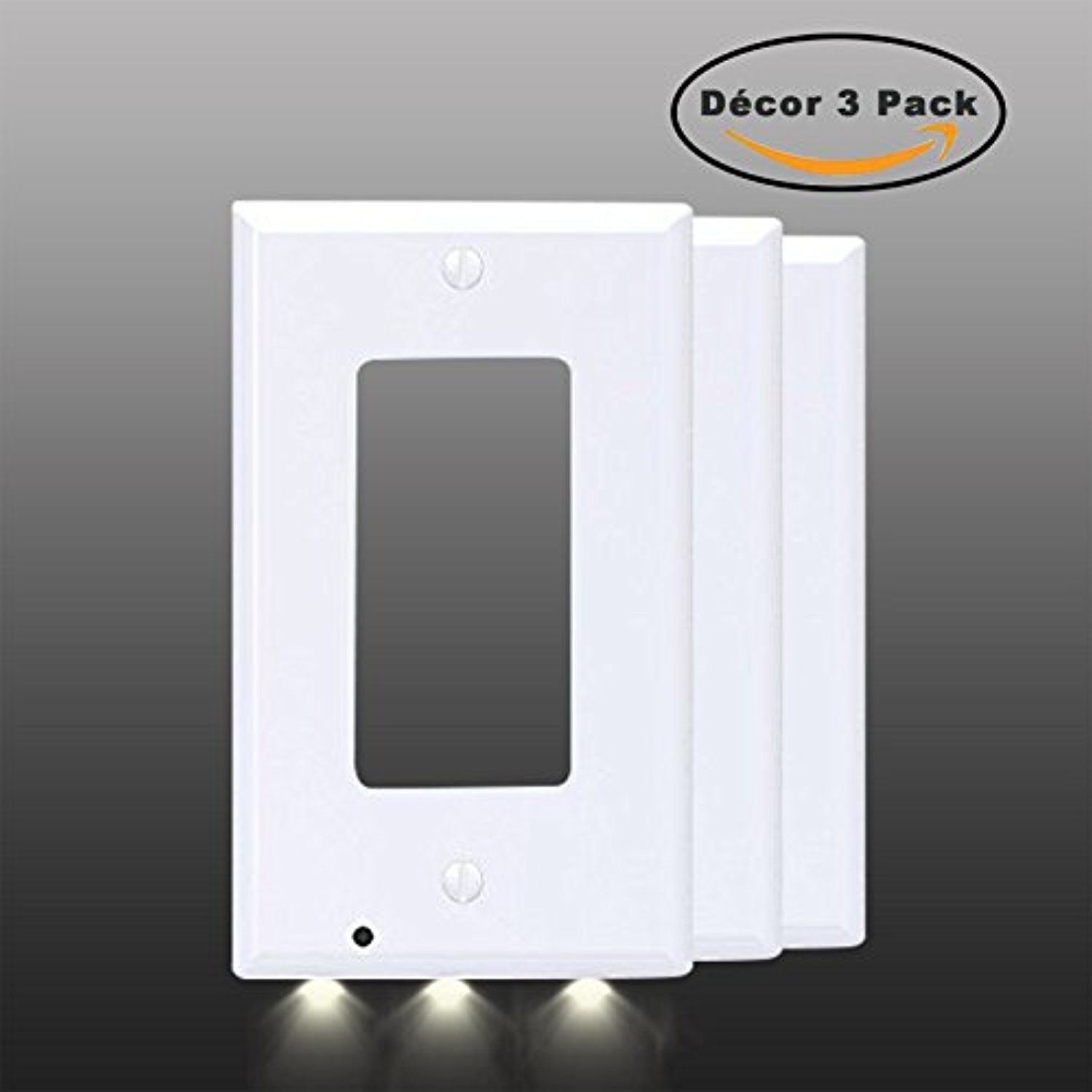 Exgreem Guidelight Best Energy Saving Led Night Lights Wall Outlet Nightlight And Switch Wiring Cover Fireproof Material No Batteries Or Wires White Dcor 3 Pack Check This