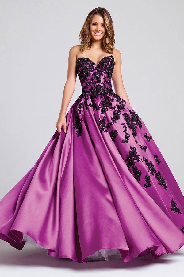 Exquisite Satin Sweetheart Neckline A-Line Prom Dresses With Beaded ...
