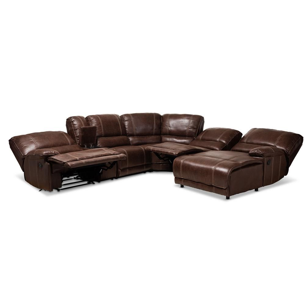 Baxton Studio Salomo Brown Faux Leather Sectional Leather