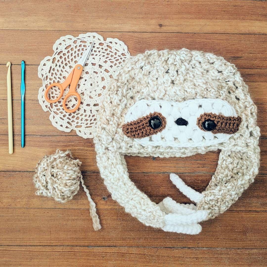 Sloth hat crochet pattern - kawaii adorable hellohappy.etsy.com ...