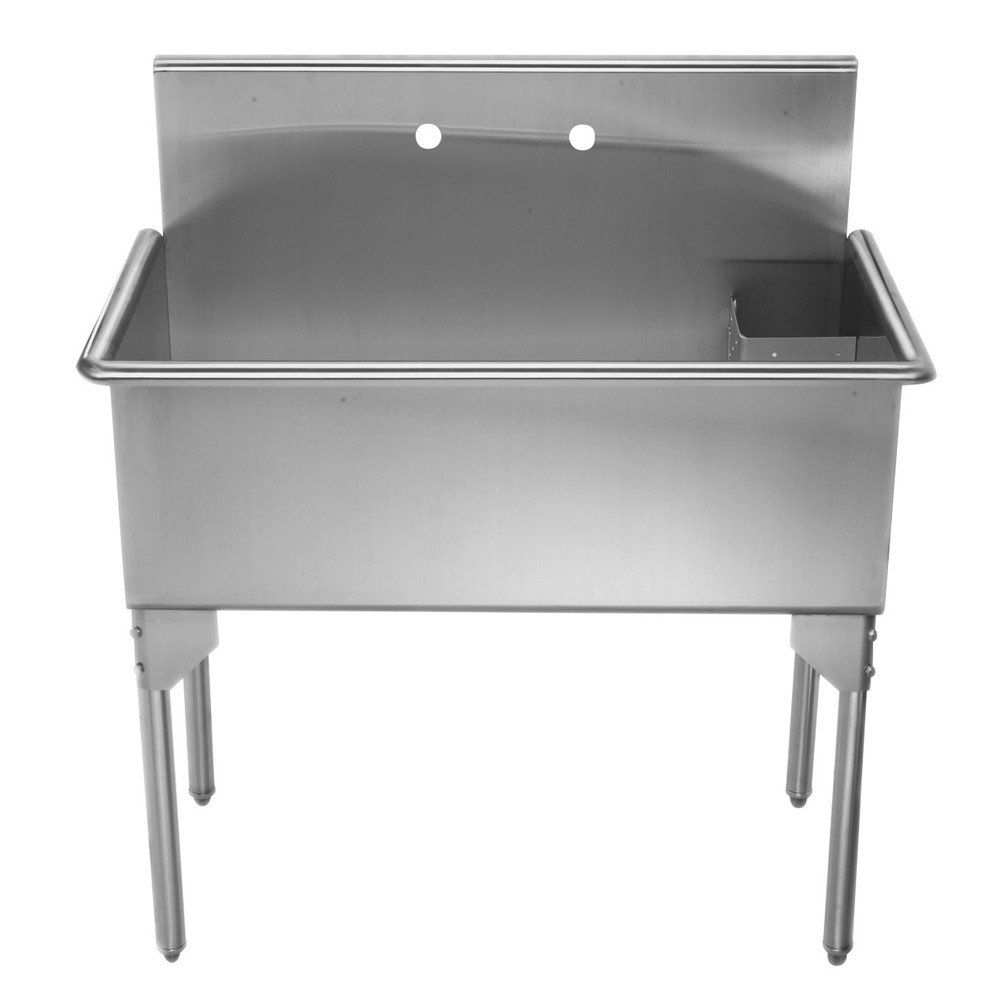 Pearlhaus Collection36 Inch Brushed Stainless Steel Freestanding Utility Sink Stainless Steel Utility Sink Stainless Steel Utility Sink Laundry Room Sink