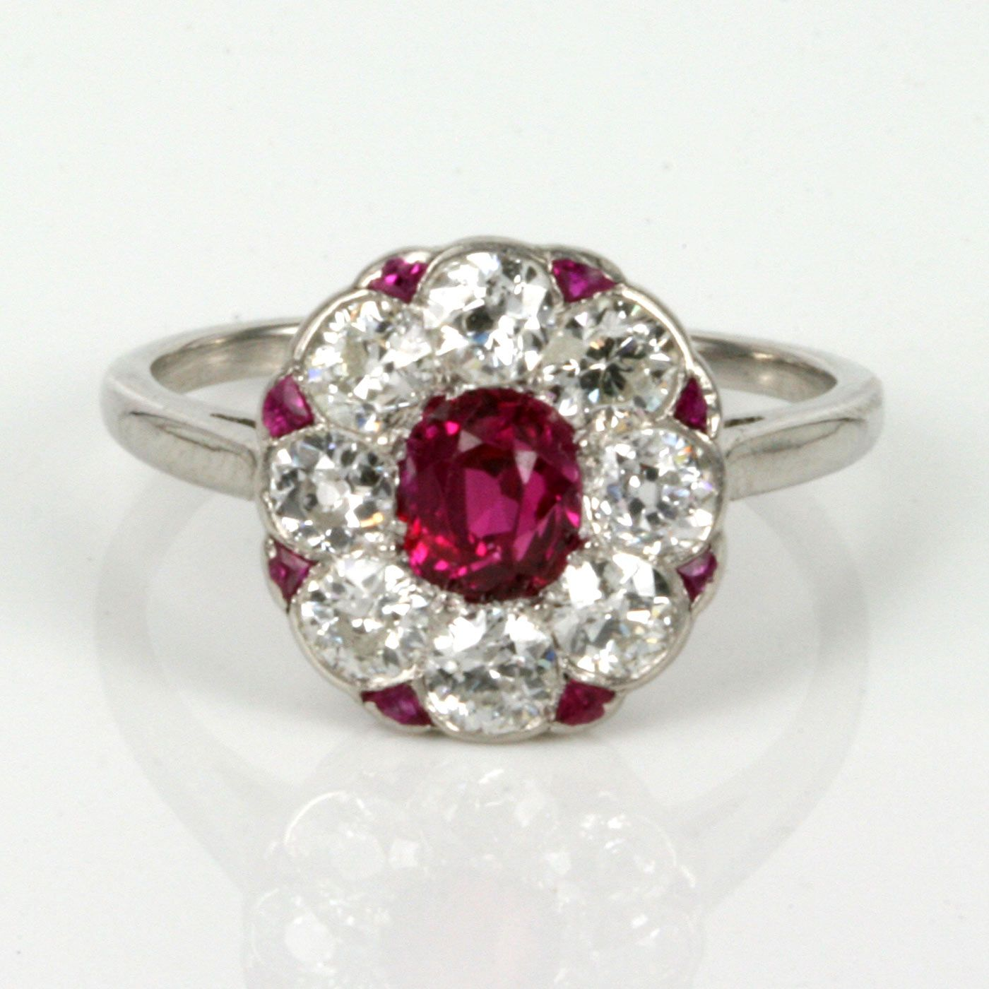 Platinum Art Deco Ruby And Diamonds Cluster Ring Additional Triangularcut Rubies Between Highlights The Circa 1920: Triangle Ruby Wedding Rings At Reisefeber.org