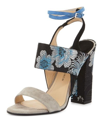 Xiam Suede & Fabric Sandal, Black