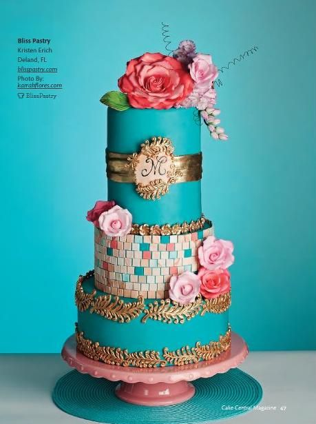 Pink, turquoise and gold vintage couture wedding cake. @Celebrity Style Weddings