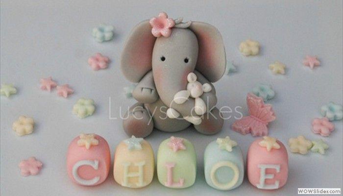 Elephant Cake Topper Set Christening Or Birthday