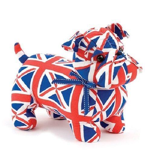 British Bulldog Dog Puppy Union Jack Red White Blue Door Stop