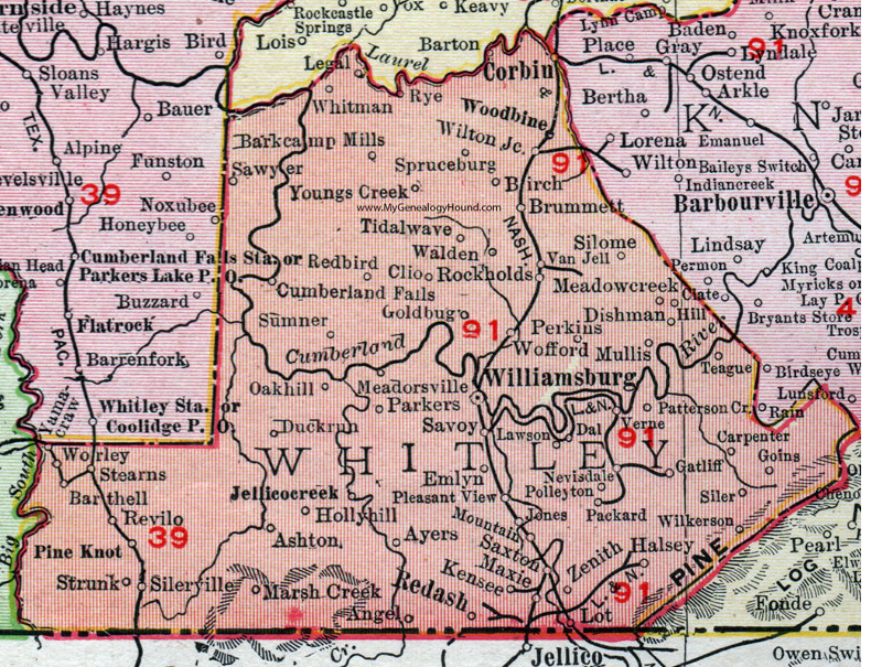 Map of Whitley County, KY  The Stanfill and related families lived