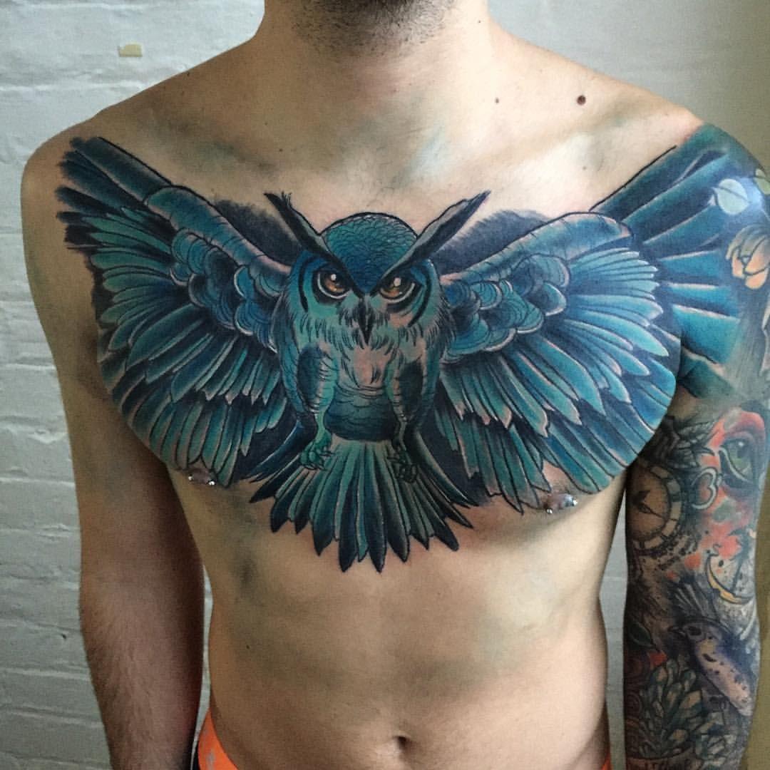 Amazing Owl Chest Tattoo By Haydn Higham Owl Tattoo Chest Art Tattoo Body Art Tattoos