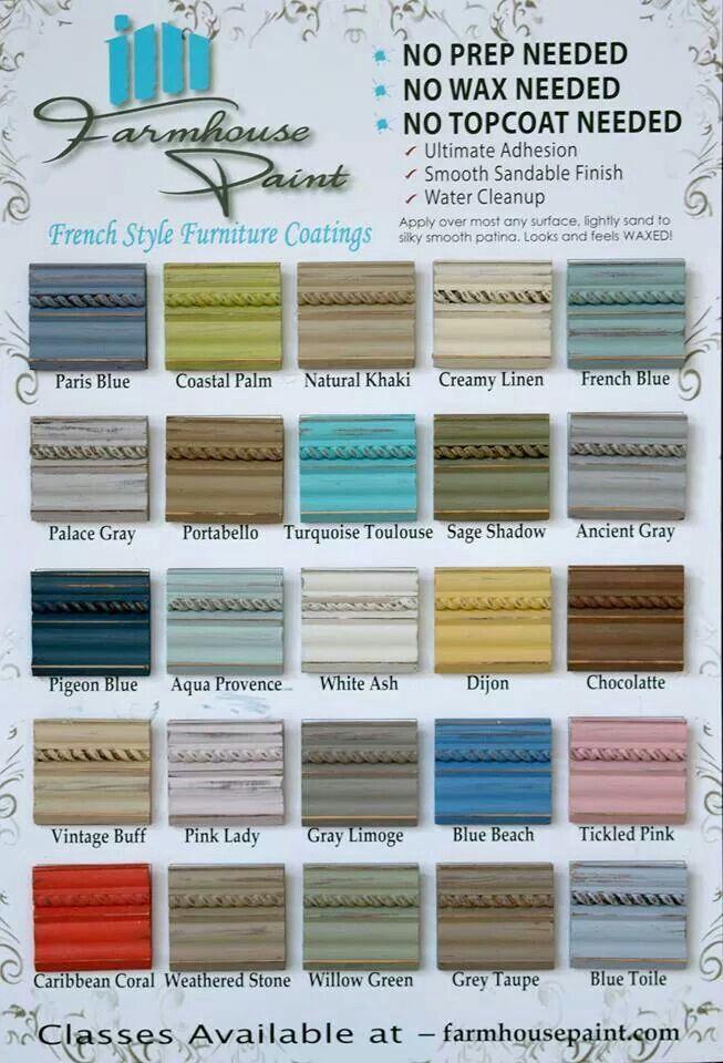 Farmhouse Paint color chart Single step no prep, no wax $32 a - stool color chart