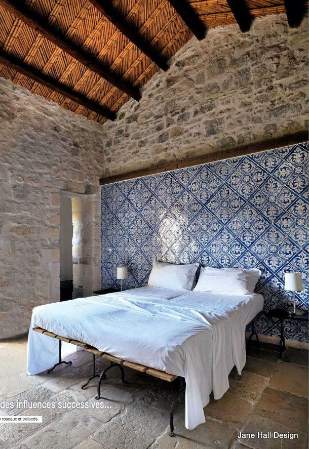 Rustic Style Bedroom Featured In Cote Sud French Interior Design Magazine