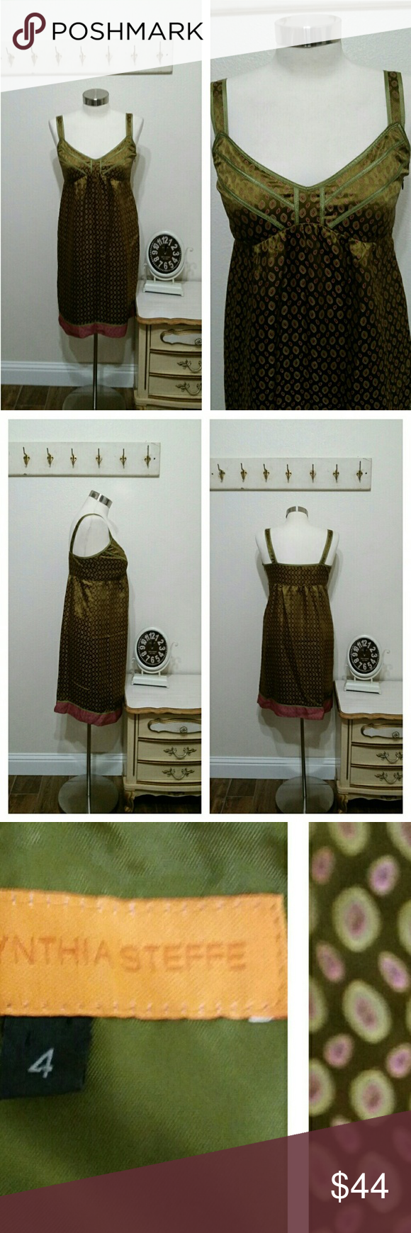"Cynthia Steffie Sundress, shimmery print, olive 4 Cute designer dress Stappy Empire Waist Side zipper Fully Lined  Size 4  Measurements:   34"" bust 38"" Mid Section Full hip to 40"" 36"" Length  Excellent condition   Feel free to ask questions. Cynthia Steffe Dresses"