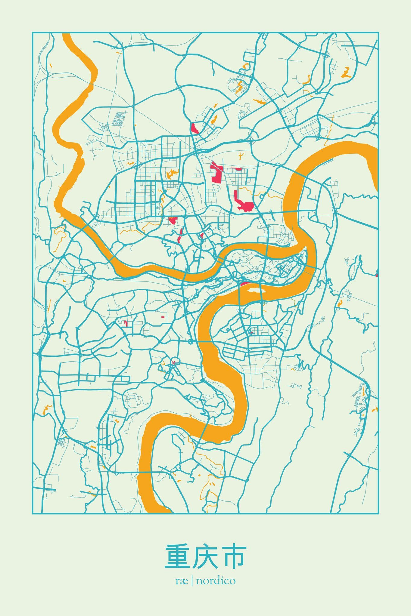 Chongqing, China Map Print | maps | Pinterest | Mapas, Cartografía y ...