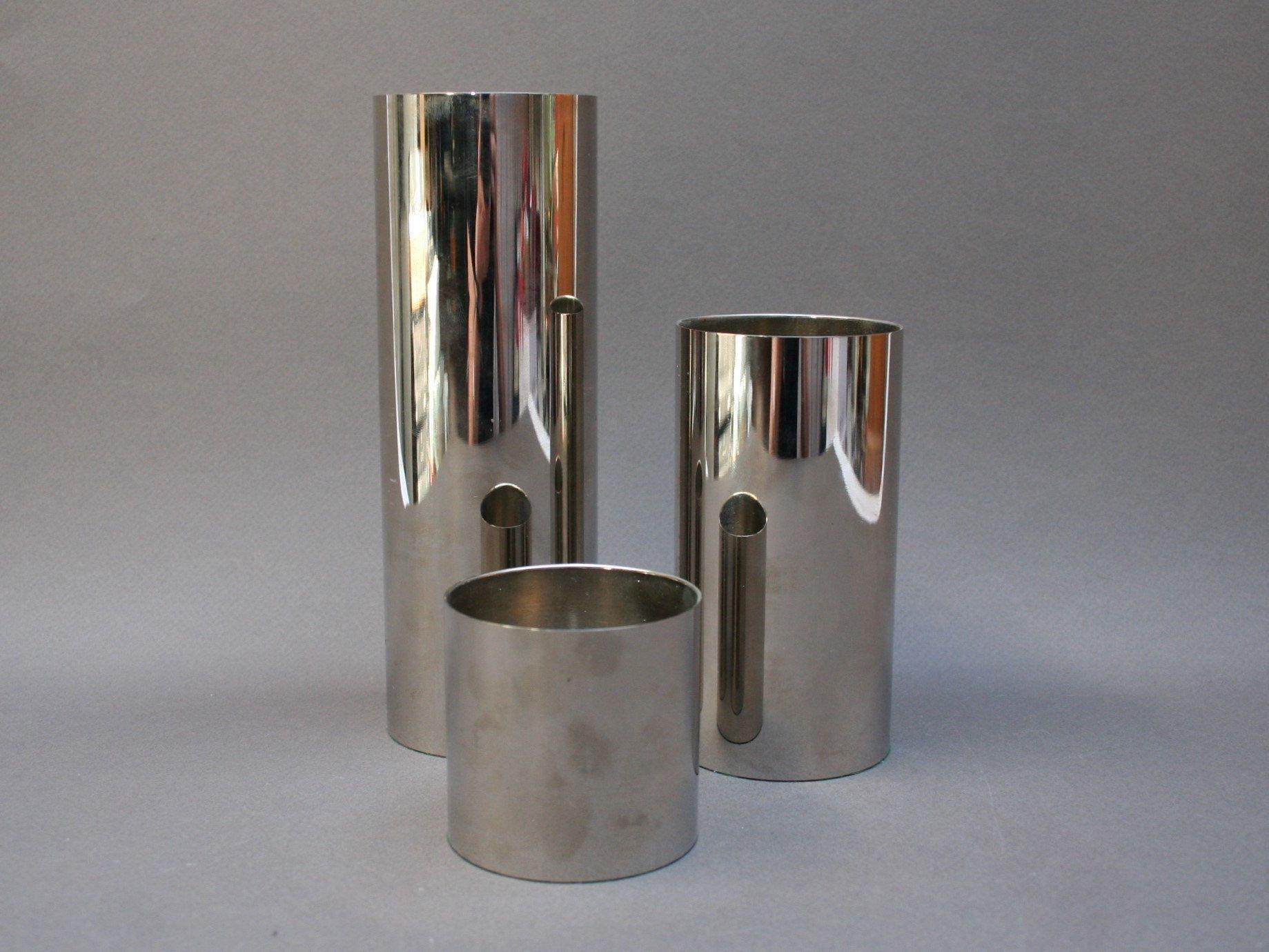 Vintage 1970s Danish Graduated Candleholders Set Of Modernist Stainless Steel Scandinavian Candlestick Holders For Votive Candles Candlesticks Candle Holders Metal Candle Holders