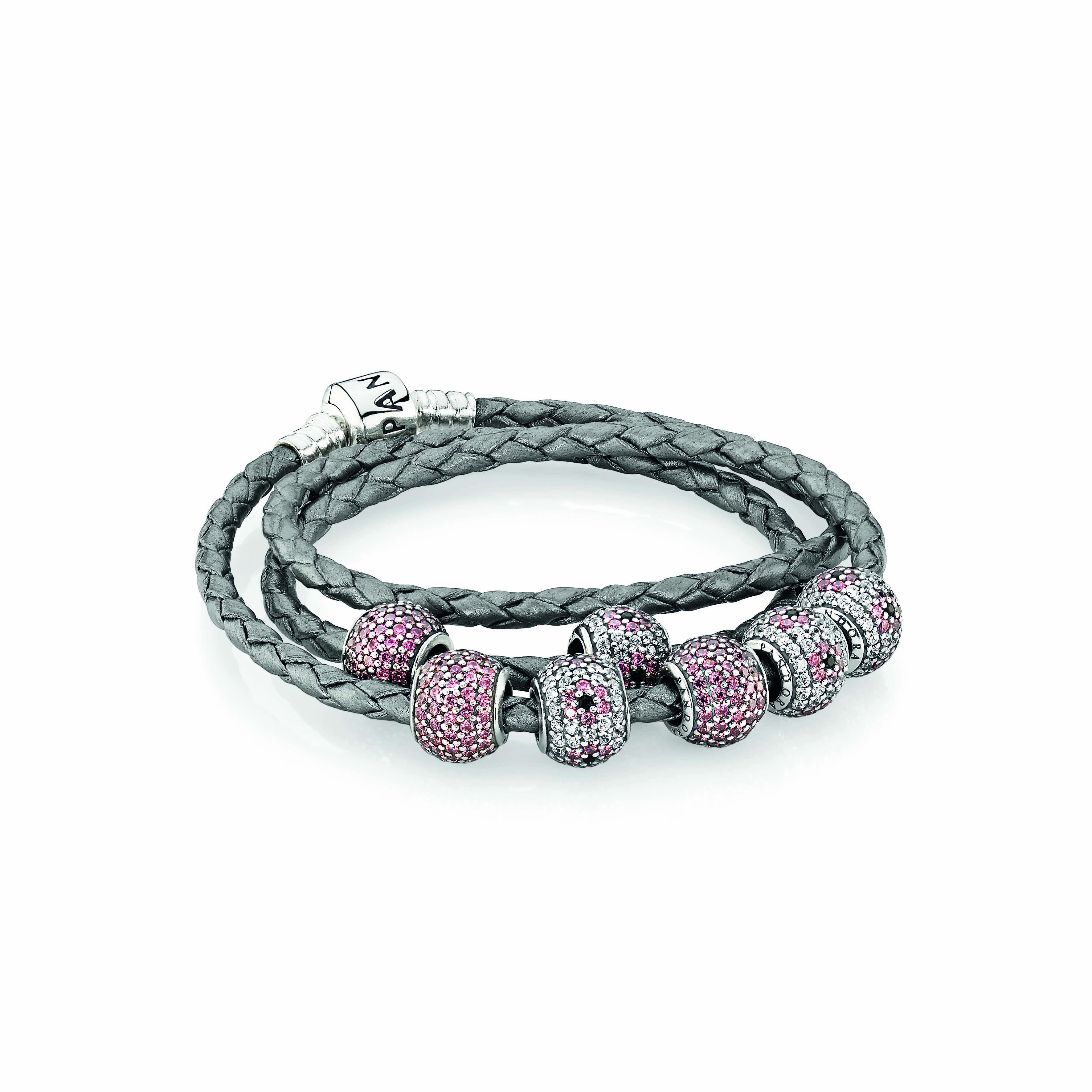 Pandora Triple Leather Bracelet 79 And Pavé Charms 69 Each D8eaf A2e08