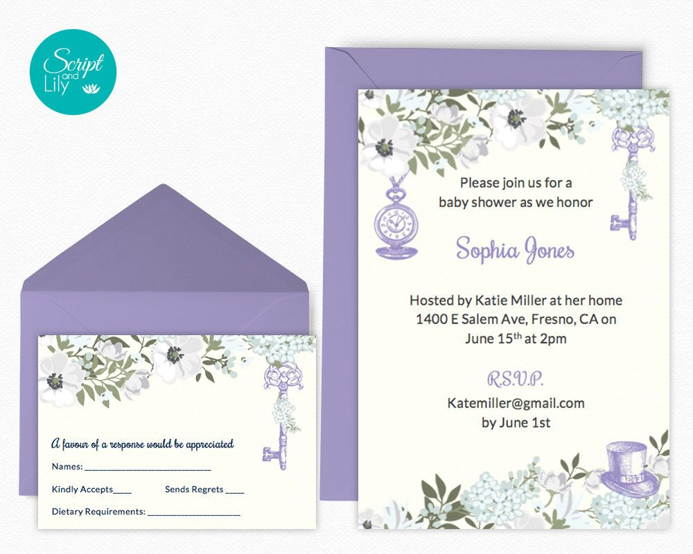 Yellow Lilac Baby Shower Invitation Template Alice In Wonderland
