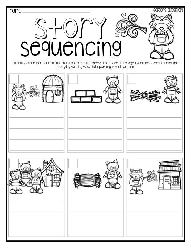 Three Little Pigs story sequencing activity – Kindergarten Story Sequencing Worksheets