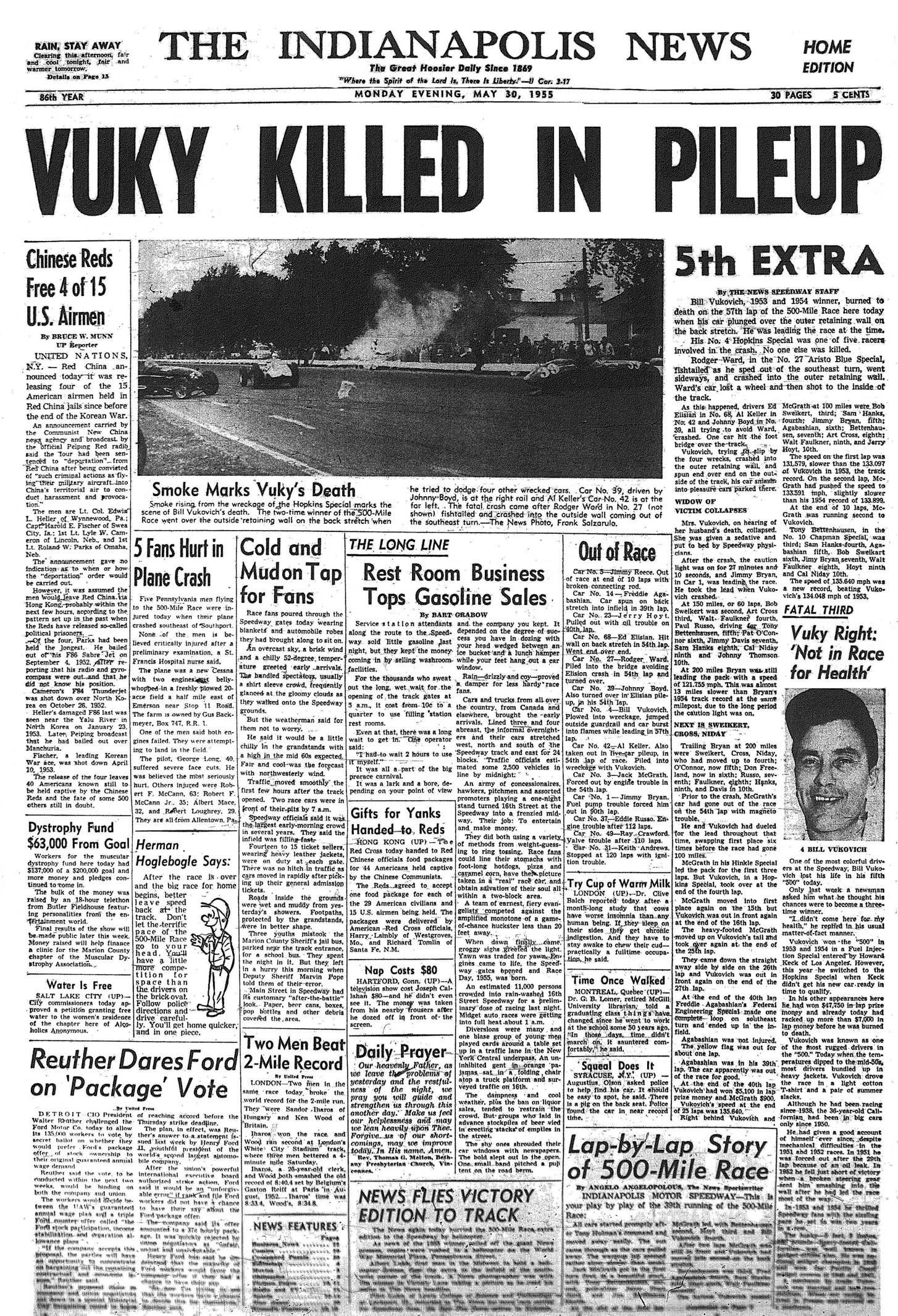Bill Vukovich killed in 1955 Indianapolis 500 crash. Indianapolis ...