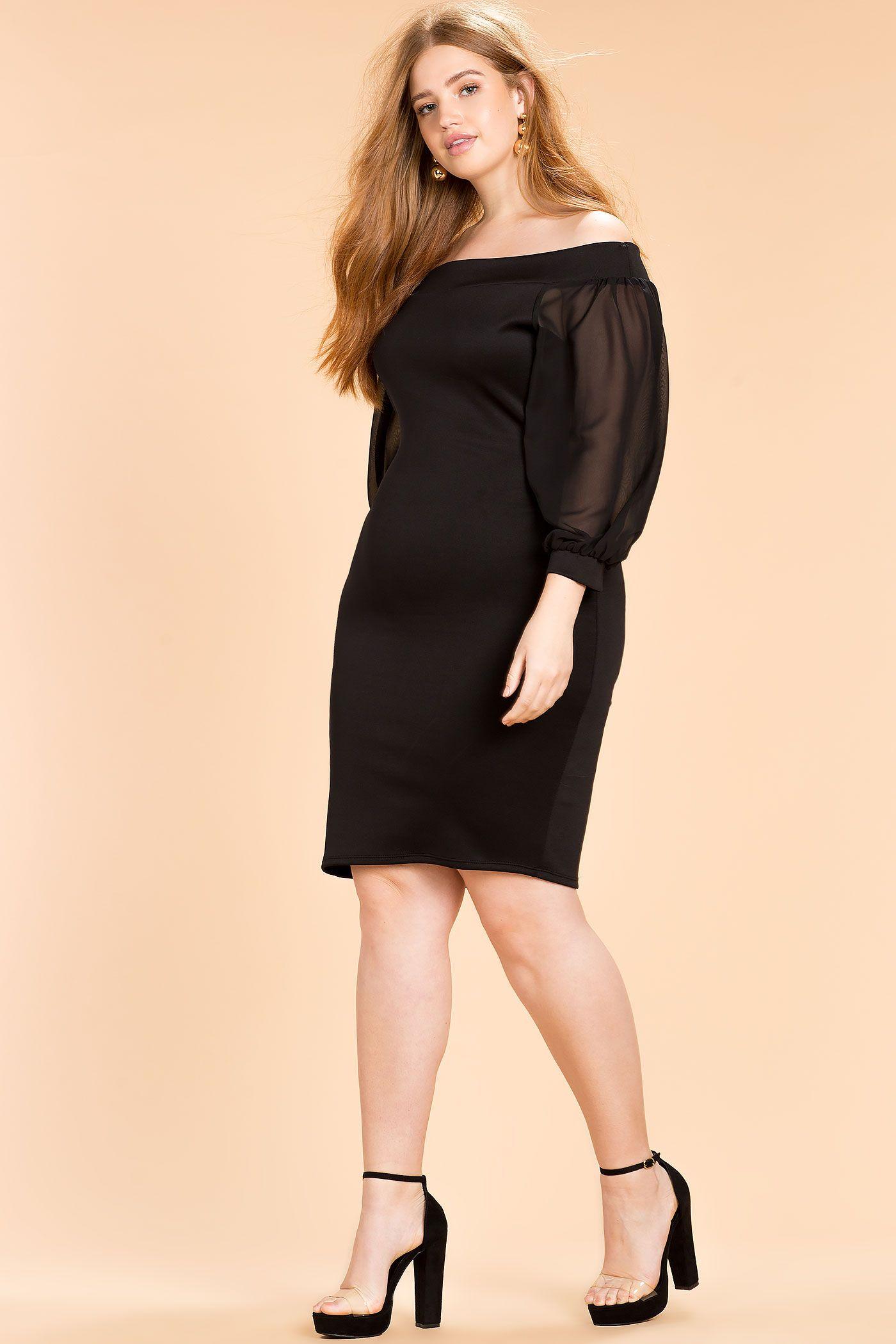 Women\'s Plus Size Column Dresses | Balloon Sleeve Off ...