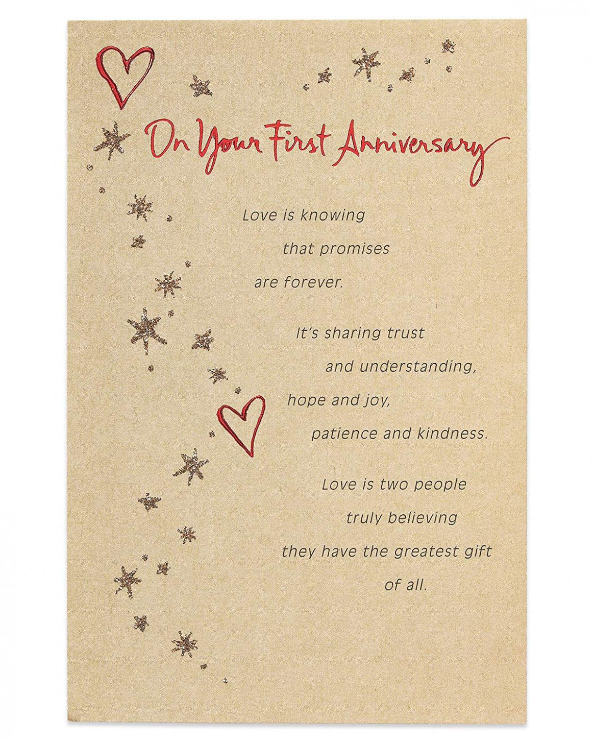 American Greetings First Anniversary Card for
